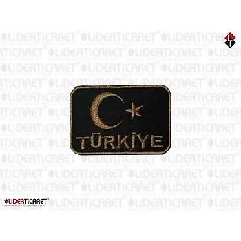 Türk Bayraðý Türkiye Yazýsý Siyah Renk Eskitme
