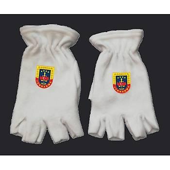 Eldiven Polar Kesik Parmaklý Beyaz Renk JANDARMA Armalý