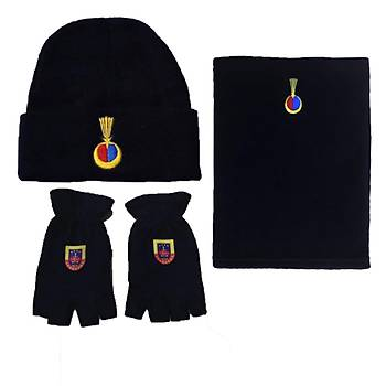 Jandarma Kýþlýk Set Lacivert Renk Yün Bere & Polar Boyunluk & Polar Kesik Eldiven armalý