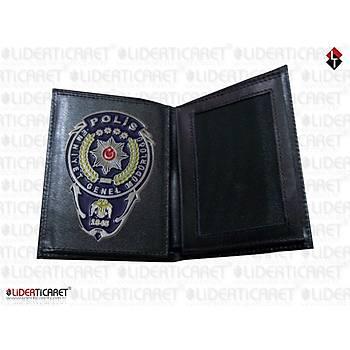 Polis Cüzdaný Hakiki Deri Yeni Model Polis EGM Logolu Mavi Renk