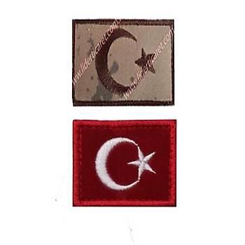 Türk Bayraðý Armasý/Peç 3,5 x 4,5 cm Cýrtlý Kýrmýzý/Kamuflaj Renk( Ýkili Takým )