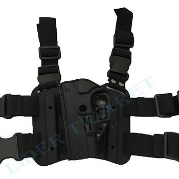 ACAR-AL Sarsýlmaz Kilitli SOL Bacak Kýlýfý Siyah Renk(Sar 9-Canik Tp9-Girsan)