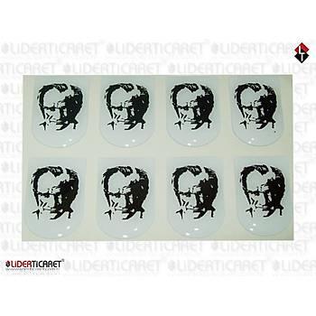 Sticker Þarjör Kapaðý K.Atatürk Resimli Karakalem ( 3 Adet )