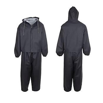 Siyah Renk Alt Üst  Takým Yaðmurluk (Siyah PVC-PU Kumaþtan Üretilmiþtir.)