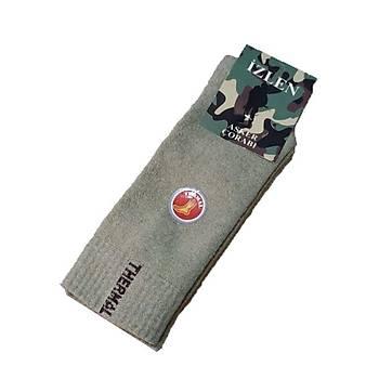 ÝZLEN Asker Çorabý Nano Haki Renk 12'li Paket Kýsa Konçlu