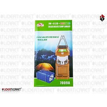 KIRGIL 7009A 1W+6 LED + RENKLÝ LED SOLAR ENERJÝ ÞARJ EDÝLEBÝLÝR KAMP LAMBASI