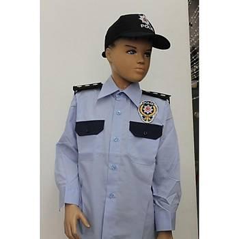 Polis Çocuk Mavi Gömlekli Karakol Kýyafeti