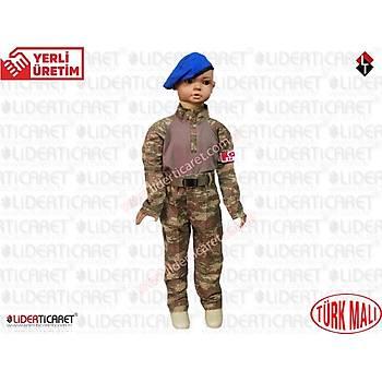 Asker Çocuk Combat Komando Kýyafeti Kamuflaj Nano Renk Mavi Bereli Takým