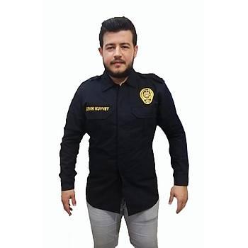 Çevik Kuvvet Müdür Polis Gömleði Kýþlýk Lacivert Renk M Beden