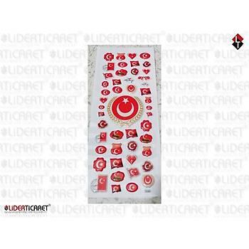 Sticker  Türk Bayraðý Mini 50 Adet Karþýsýk Boy