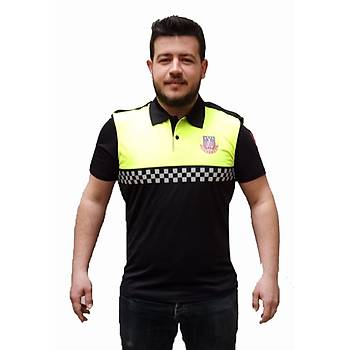 Jandarma Trafik Tiþörtü Damalý Reflektörlü Yeni Model Sarý & Siyah