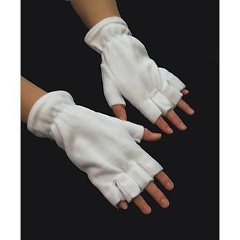Eldiven Polar Kesik Parmaklý Beyaz Renk