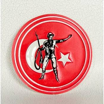 Türk Bayraklý Mücahit Asker Armasý 3D Kendinden Cýrtlý Yapýþkanlý