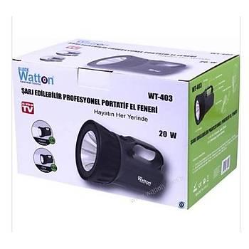 Watton WT-403 Þarj Edilebilir Profesyonel Portatif EL Feneri