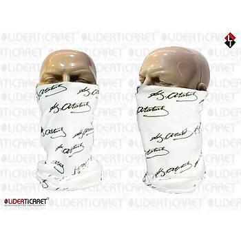 K.ATATÜRK Ýmzalý Maske Bandana Buff Beyaz Renk