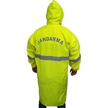 Sarý Renk Jandarma Yazýlý ve Armalý Pardösü Yaðmurluk (Sarý PVC-PU Kumaþtan üretilmiþ Yaðmurluk)