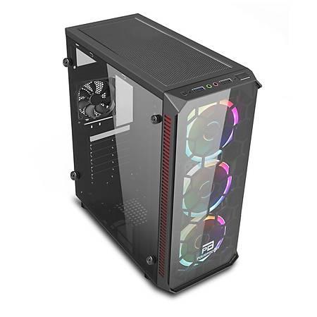 PowerBoost VK-C09B Tempered Cam Siyah ATX Kasa PSU Yok