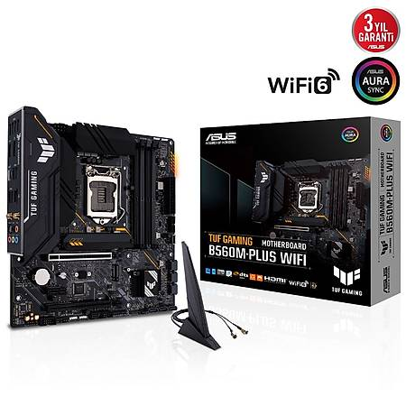 ASUS TUF GAMING B560M-PLUS DDR4 5000MHZ (OC) HDMI DP TYPE-C M.2 USB3.2 AURA RGB Wi-Fi mATX 1200p