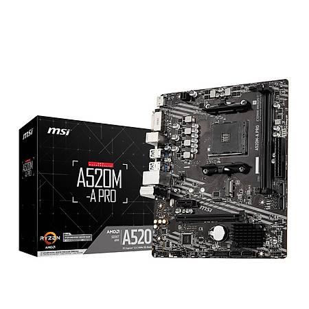 MSI A520M-A PRO DDR4 4600MHz DVI HDMI VGA M.2 USB 3.2 mATX AM4