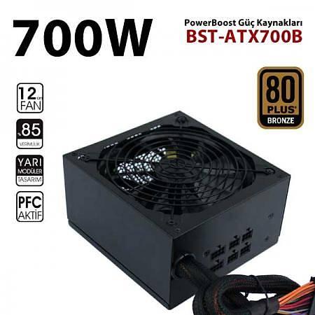 PowerBoostBST-ATX700B 700W 80+ Bronze Yarý Modüler Power Supply