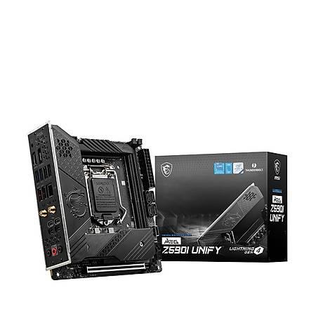 MSI MEG Z590I UNIFY DDR4 5600MHz (OC) DP HDMI 2xM.2 USB 3.2 2.5Gbit Lan Thunderbolt 4 Mini-ITX 1200p