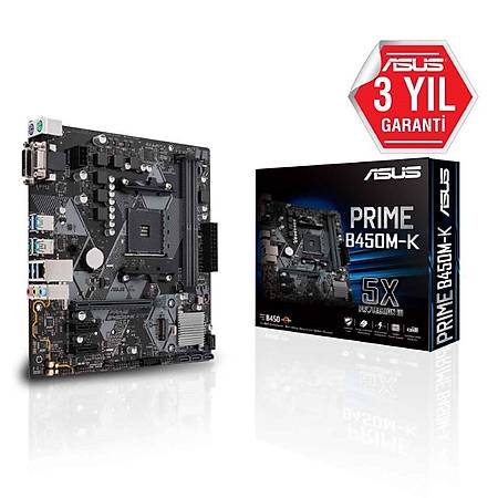 ASUS PRIME B450M-K DDR4 3466MHz (OC) VGA DVI M.2 USB3.1 mATX AM4
