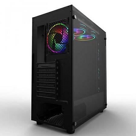 Power Boost X-59 Temperli Cam RGB Fanlý Mid-Tower Gaming Kasa PSU Yok