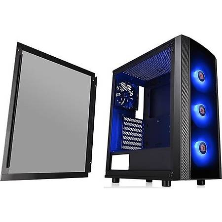 Thermaltake Versa J25 Tempered Pencereli RGB 120mmx3 Fanlý Siyah Mid Tower Gaming Kasa PSU Yok