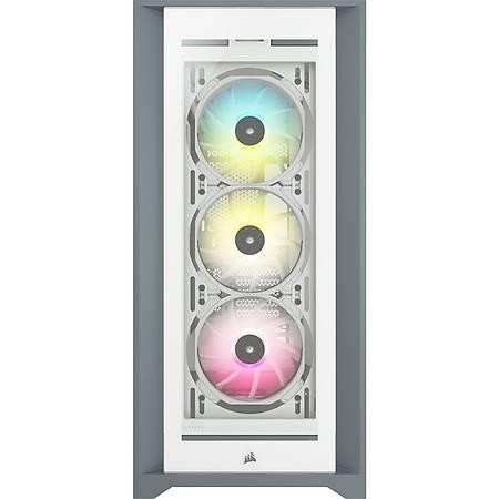 Corsair iCUE 5000X RGB Temperli Cam Beyaz ATX MidTower Kasa PSU Yok