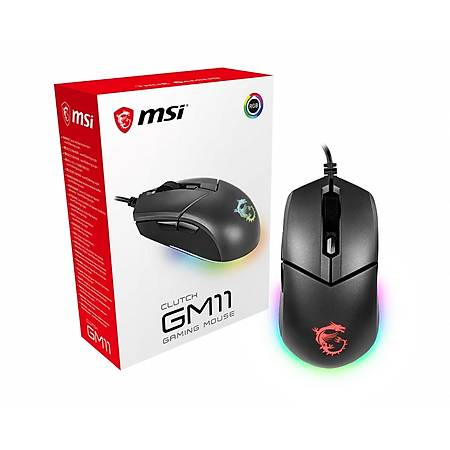 MSI Clutch GM11 5200 DPI Optik Siyah RGB Oyuncu Mouse