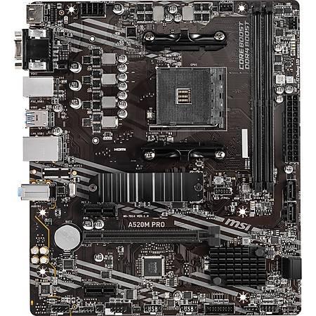 MSI A520M PRO DDR4 4600MHz DVI HDMI VGA M.2 USB 3.2 mATX AM4