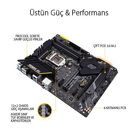 ASUS TUF GAMING Z490-PLUS DDR4 4600MHz (OC) HDMI DP TYPE-C M.2 RGB USB 3.2 ATX 1200p