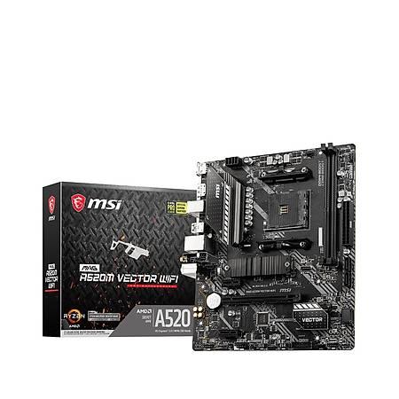 MSI MAG A520M VECTOR WIFI DDR4 4600MHz DP HDMI M.2 USB 3.2 mATX AM4