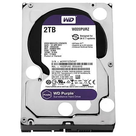 WD Purple 3.5 2TB 7200Rpm 64Mb Sata 3 6Gb/s 7/24 WD20PURZ