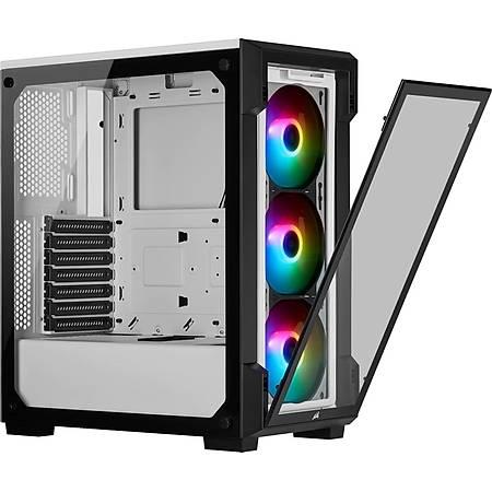 Corsair iCUE 220T RGB Temperli Cam Beyaz ATX MidTower Kasa PSU Yok