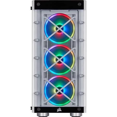 Corsair iCUE 465X RGB Temperli Cam Beyaz ATX MidTower Kasa PSU Yok