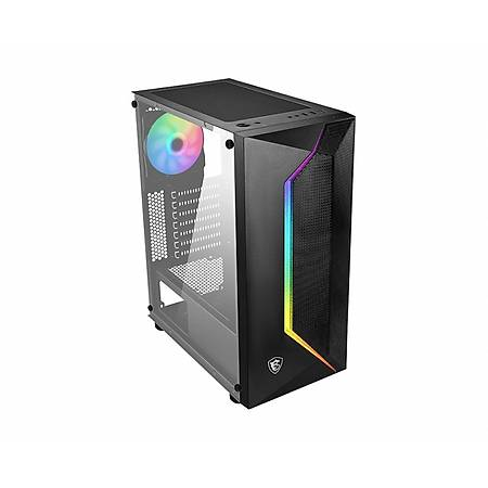 MSI MAG VAMPIRIC 100R 1xA-RGB 120mm Fan Temperli Cam ATX Gaming Bilgisayar Kasasý PSU Yok