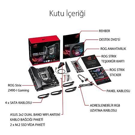 ASUS ROG STRIX Z490-I GAMING DDR4 4800MHz (OC) HDMI DP TYPE-C M.2 RGB USB 3.2 Mini-ITX 1200p