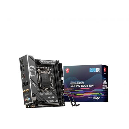 MSI MPG B560I GAMING EDGE WIFI DDR4 5200MHz (OC) HDMI DP M.2 USB 3.2 Wi-Fi mITX 1200p