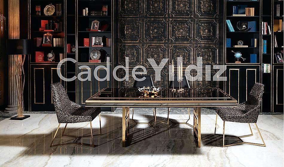 Fendi Black & Gold Luxury Yemek Masasý Takýmý