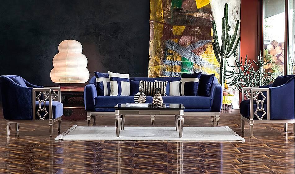 Elegant Lüks Salon Takýmý - Mavi