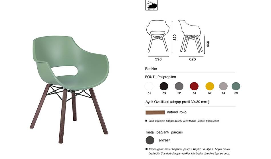 Opal Wox Pro I Iroko Wood Sandalye 2 Adet