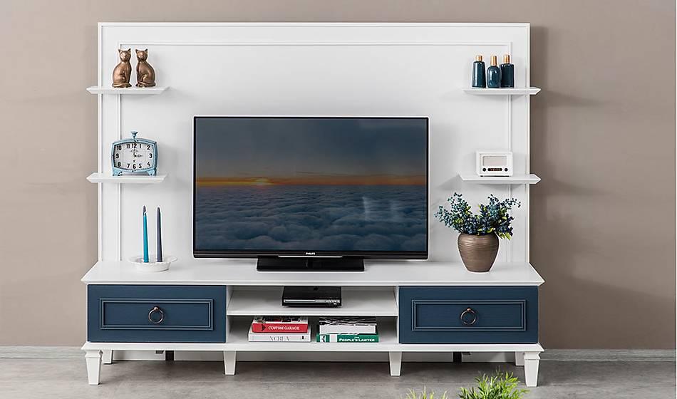 Ancelin Tv Ünitesi - Beyaz Lacivert
