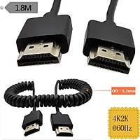 İnce Yüksek Hızlı HDMI sarmal Spiral Kablo 4K * 2K