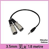 3.5 mm Stereo Jack Plug Stereo Dual 3 Pin Xlr Male Ses Kablosu - Siyah - 1.8 M