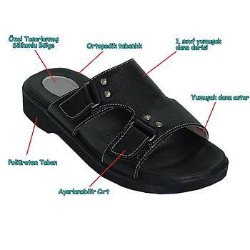 Topuk Dikeni Terliği Erkek Model Siyah EPT12S (Silikon Tabanlık)