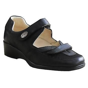 Hakiki Deri Diyabet Ayakkabısı Bayan Yazlık Siyah ODY03S