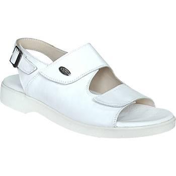 Ortopedik Deri Sandalet Erkek Beyaz ORT-13AB