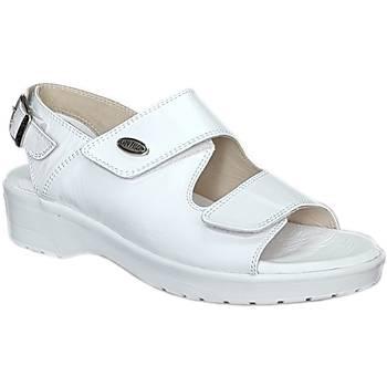 Ortopedik Topuk Dikeni Sandaleti Bayan Beyaz EPT08AB (Deri ve Silikonlu)