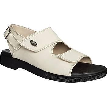 Ortopedik Deri Sandalet Erkek Bej ORT-13AJ